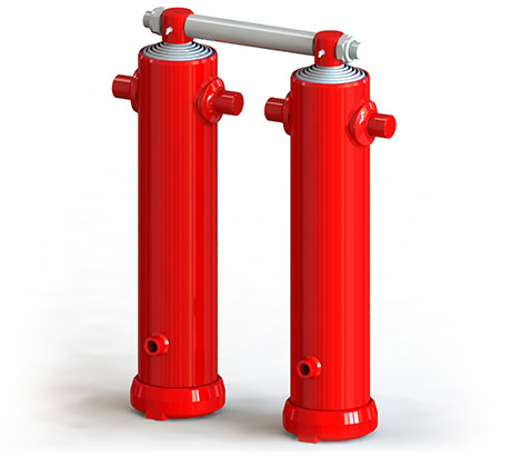 Twin ram tipping cylinders