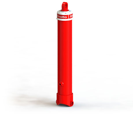 Front-end telescopic cylinder with top eye and bottom bushing